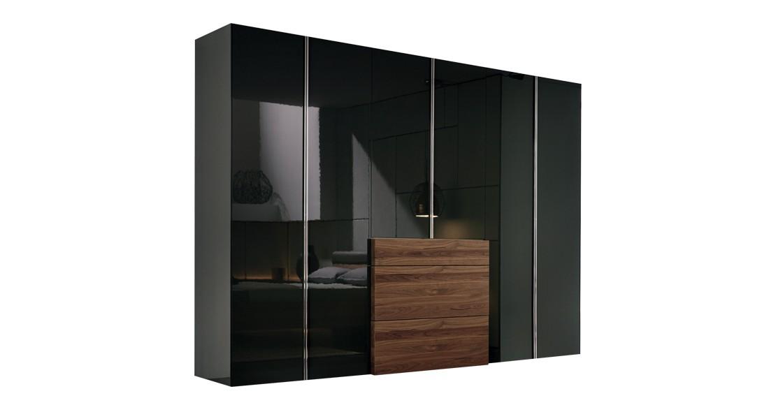 Chambre à coucher Hulsta Gentis gris brillant armoire avec élément design