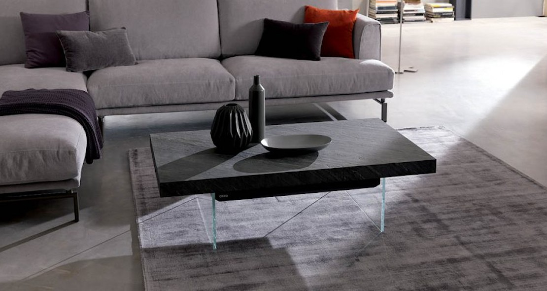 Table de salon transformable en table repas avec piétement verre et plateau véritable bois de placage