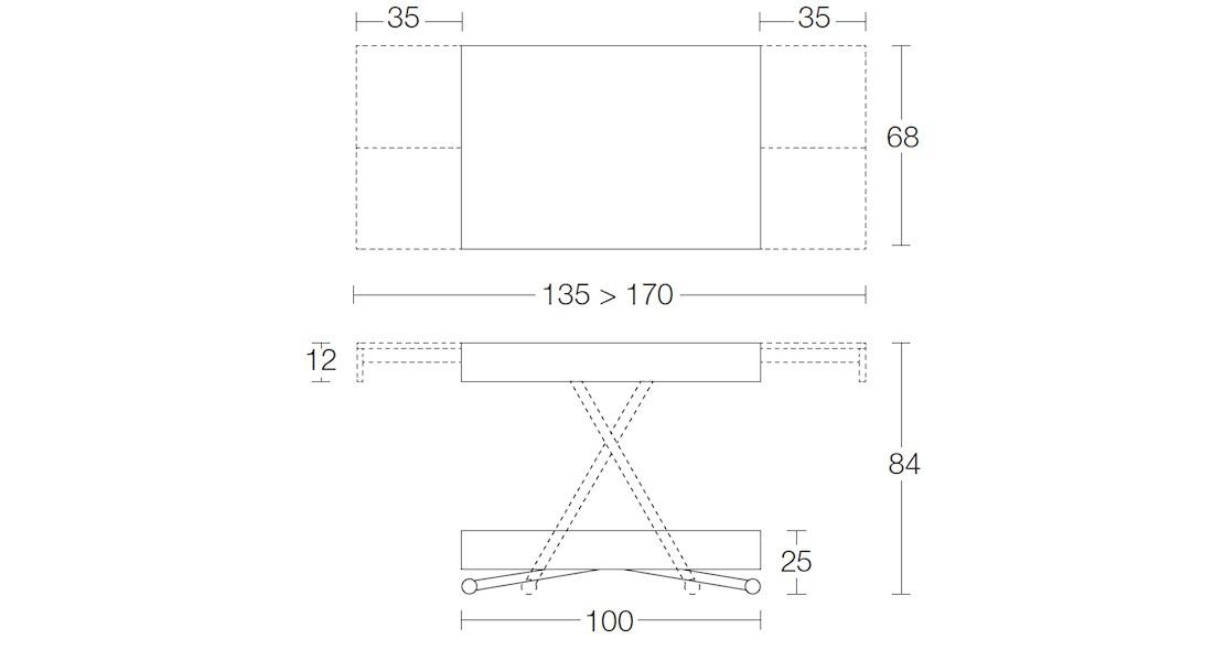 Table à hauteur variable Compact avec allonges aux extrémités