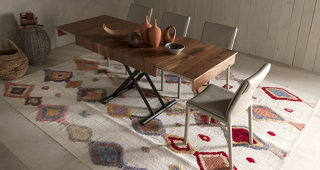 Table à hauteur variable Double avec allonges aux extrémités