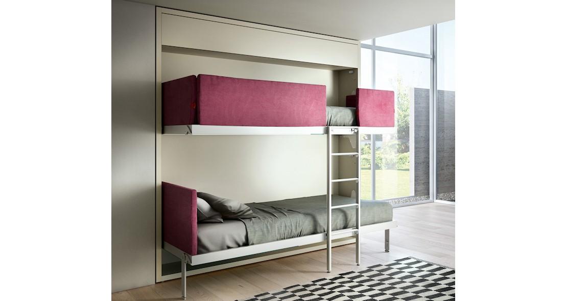 Lits escamotables superposés avec 2 couchages 80x200 avec canapé