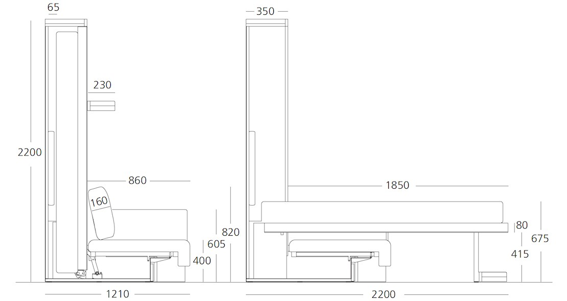 Lit escamotable canapé Clei Nuovoliolà avec couchage 150x200