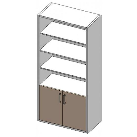 Elément 2 petites portes et étagères bois larg 88.6 prof 45.2