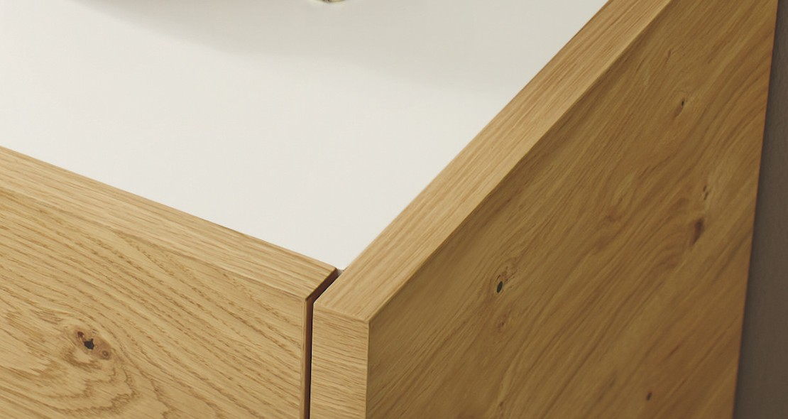 Chevet Fena 2 tiroirs chêne ou blanc