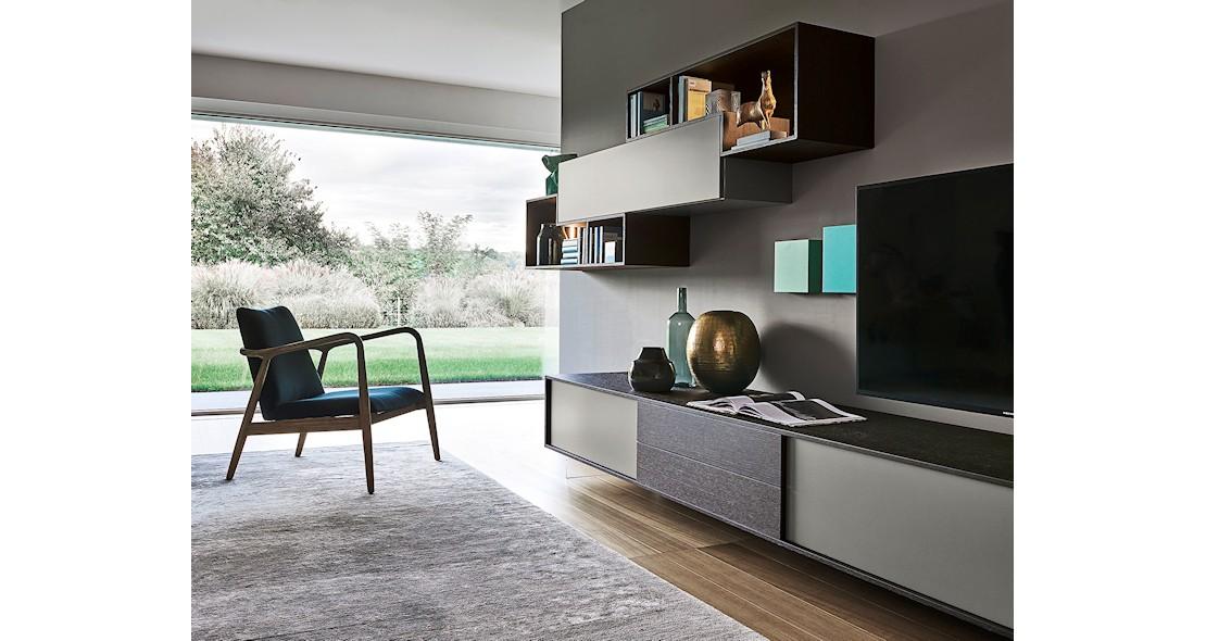 Composition meuble tv avec éléments suspendus