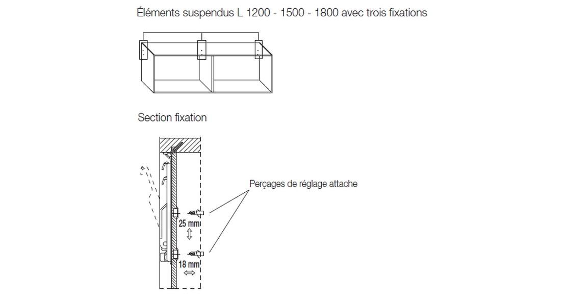 Meuble pour tv suspendu avec éléments posés et suspendus