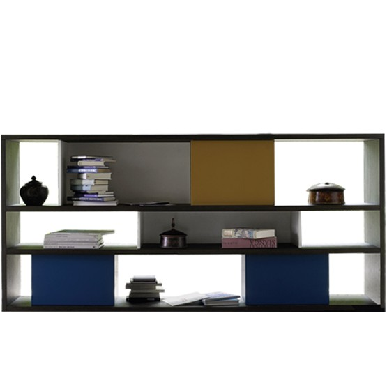 biblioth que basse ouverte avec fonds partiels et caissons multicolores. Black Bedroom Furniture Sets. Home Design Ideas