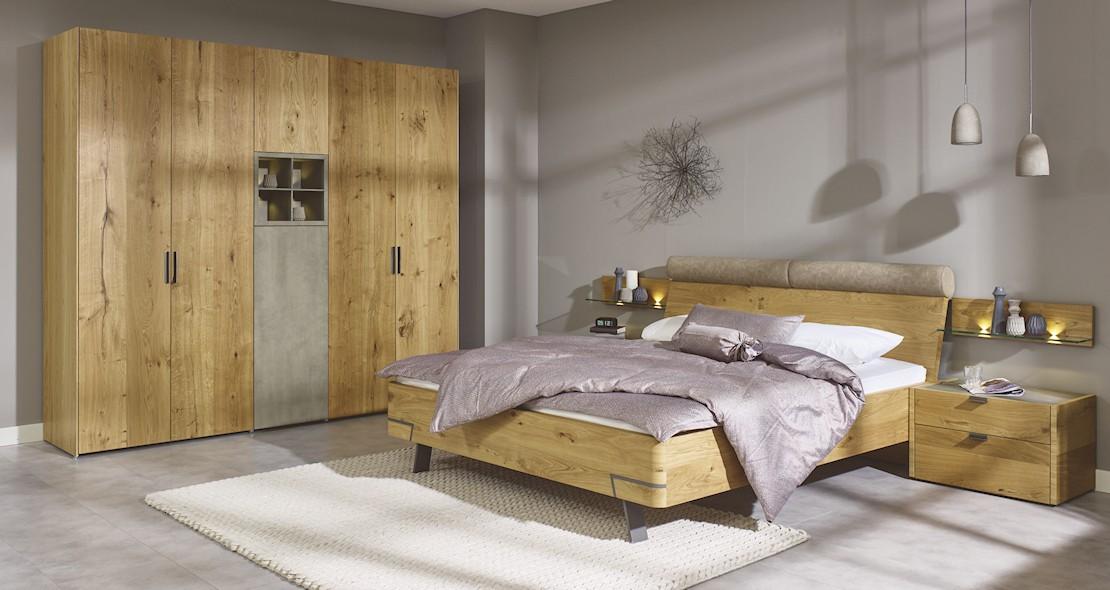 Chambre à coucher Hulsta Fena en chêne avec armoire 5 portes
